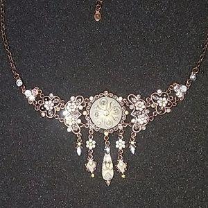 White enamel and rhinestone necklace